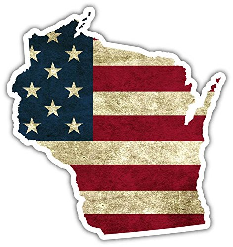 - Wisconsin State Shaped US Flag American Flag Vinyl Bumper Sticker Decal 4