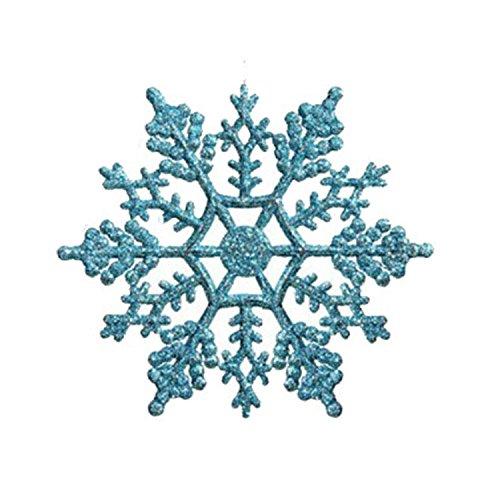 rtificial Flowers Artificial Flowers - 12PCS Christmas Snowflake Piece Plastic Pendant - Lake Blue - 1 X 12PCS Snowflake Piece ()