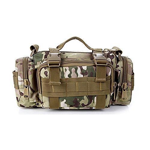 Tailcas® 600d impermeable utilidad táctica cintura Pack bolsa bolso bandolera bolso militar Camping senderismo bolsa deporte al aire libre multiusos bolsa, especialmente diseñado para niños/adolescent CP camouflage color