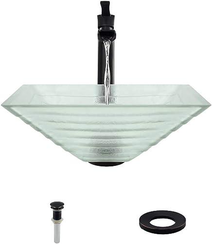 604 Antique Bronze Bathroom 731 Vessel Faucet Ensemble Bundle – 4 Items Vessel Sink, Vessel Faucet, Pop-Up Drain, and Sink Ring