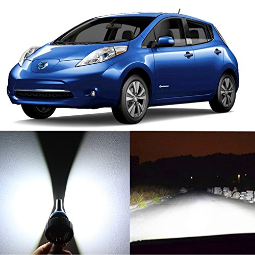 Alla Lighting 2xSuper Bright White H13 9008 H13LL LED Headlight Bulb for High Low Beam Headlamp Conversion Kits Lamps for 2013 2014 2015 2016 2017 Nissan Leaf with Halogen Capsule Headlamp only
