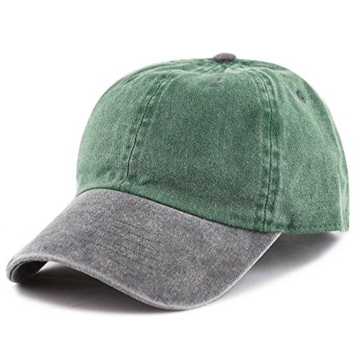 (THE HAT DEPOT Cotton Pigment Dyed Two Tone Low Profile Six Panel Plain Cap (Green Black))