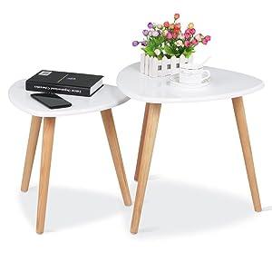 Yaheetech 2 Tavolini salotto moderni bassi Triangolari Tavolini da caffè bianchi