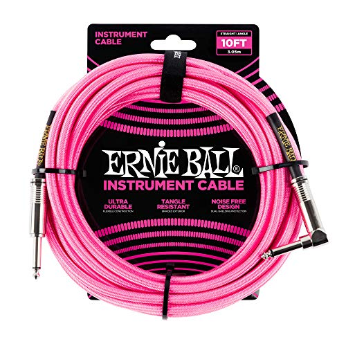 Ernie Ball Instrument Cable Neon Pink 10 ft. P06078 ()