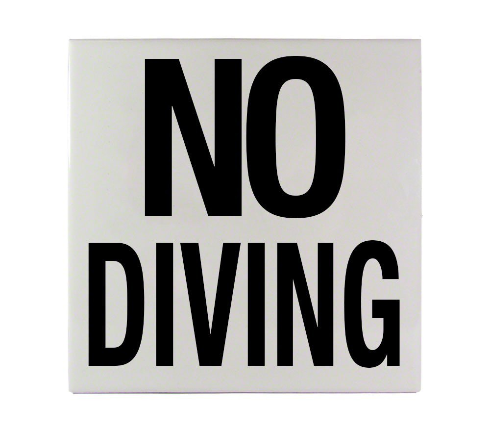 Inlays 6 x 6 NO Diving Message Smooth Ceramic Tile C611501