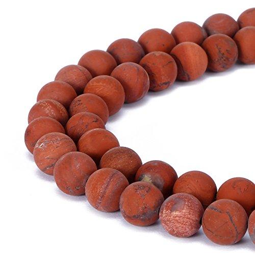 BRCbeads Poppy Jasper Natural Gemstone Loose Beads 10mm Matte Round Crystal Energy Stone Healing Power for Jewelry Making