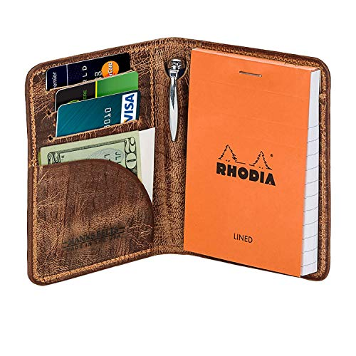 (Hanks Leather Notesman Wallet and Credit Card Holder - USA MADE - Vintage Brown)