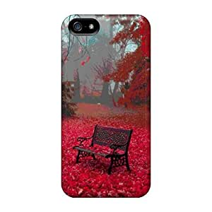 Saraumes Iphone 5/5s Hybrid Tpu Case Cover Silicon Bumper Red Autumn Leaves