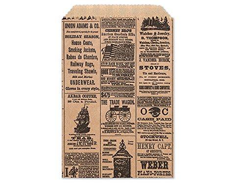(Set/50 Vintage Newspaper Print Flat Paper Gift Bags, FAVOR SIZE, 4.75