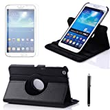 360 Degree Rotating Cover Case for Samsung Galaxy Tab 3 8.0 8-inch Tablet T3100 with Sheath™ Screen Protector and Stylus. (Black)