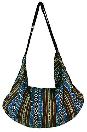 Hmong Thai Sling Zip Bag Stripe Shoulder Boho Cotton Blue4 Crossbody Ethnic Backpack Tribal Pattern Striped Top Asia BwX8dBq