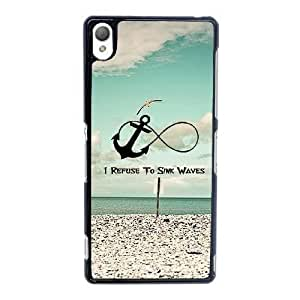 Durable Rubber Cases Sony Xperia Z3 Cell Phone Case Black I Refuse To Sink Waves Mrwdsv Protection Cover