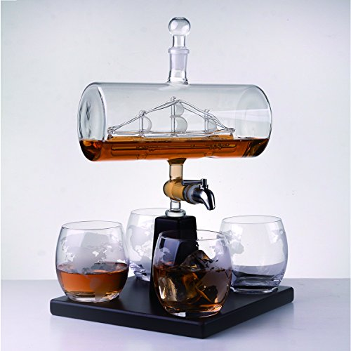 Eravino Whiskey Decanter Gift Set with Glass Barrel Sailing Ship Liquor Dispenser & 4 Etched Glasses for Whiskey Scotch Bourbon - Full Bottle 1000ML Capacity & 4 10oz Whiskey Glasses