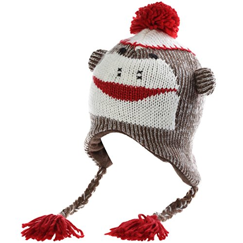 The Original Kids Knit Sock Monkey Hat (Red/Brown, One -