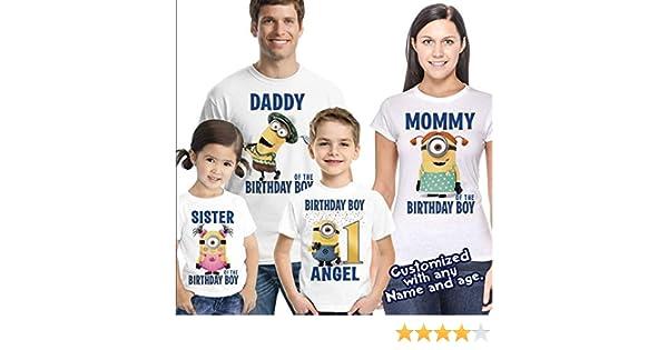 55ae747da Amazon.com: Customized Minions Birthday Shirt Add Name & Age Personalized  Minions Birthday T-shirt: Handmade