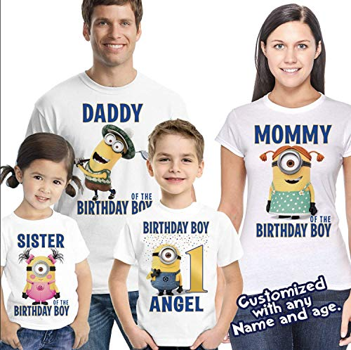 Customized Minions Birthday Shirt Add Name & Age Personalized Minions Birthday T-shirt