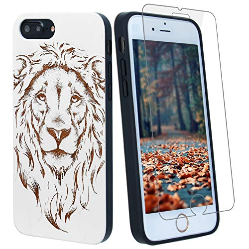 - White Lion Wood Phone Case Compatible with iPhone Xs Max Including Strong 9H Glass Screen Protector, Wireless Charging Compatible, Shockproof Protective Cover, Wireless Charging Compatible