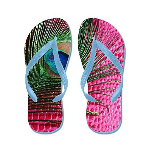 CafePress Hot Pink Peacock Feather - Flip Flops, Funny Thong Sandals, Beach Sandals Caribbean Blue