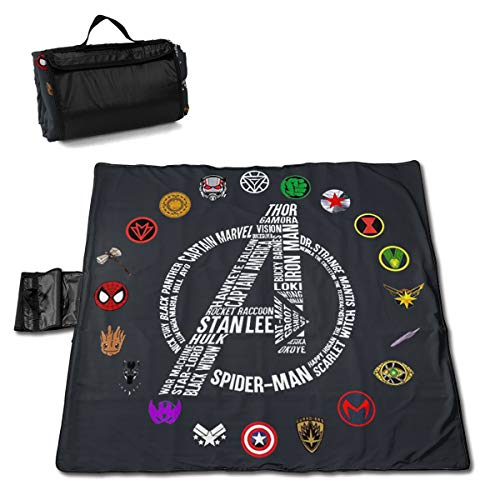 Outdoor Picnic Blanket Avengers End Game Stan Lee and Super Heroes's Symbol Mat Waterproof Padding 57x59 Inches Foldable Play Mats for Kids Families Protective Outside Beach Blankets]()
