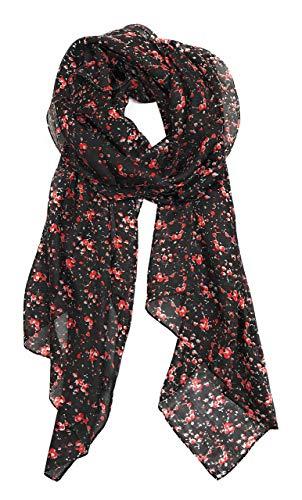 Z&HTrends Womens Genuine Silk Scarf (small, Night Poppy - Mulberry Poppy