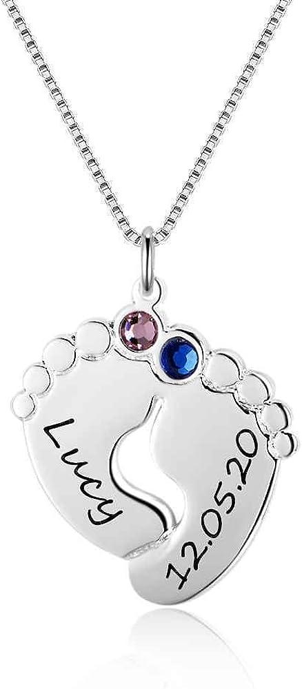 Godmoy Collar Personalizado con Colgante de Huella de Plata de Ley de Birthstone-2 Pie de Bebé 2 Nombre 2 Piedra de Nacimiento