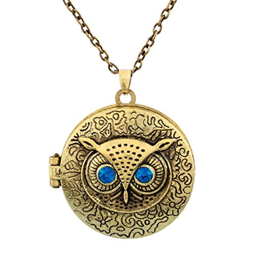 (Large Owl Bird Steampunk Locket Pendant Necklace Gold with Antique Look and Feel by Pashal)