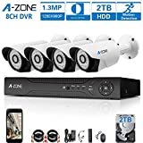 A-ZONE 8CH 1080P DVR AHD Security Camera System with 4x HD 960P 1.3MP waterproof Night vision Surveillance Camera, Quick Remote Access Setup Free App, Including 2TB HDD