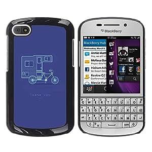 TopCaseStore / la caja del caucho duro de la cubierta de protección de la piel - Double Decker Bicycle Purple - BlackBerry Q10