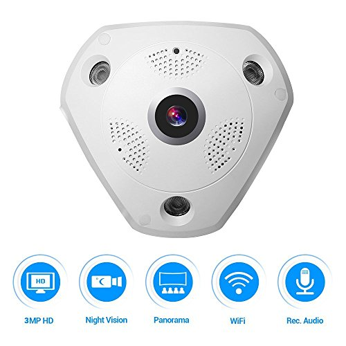 Audio Camera Server (360° Panoramic Wireles IP Camera Audio Video WiFi 3 Megapixel HD Fish-eye Lens Wide Angle 10m/30ft Night Vision VR CCTV Home Security Surveillance Cameras System)