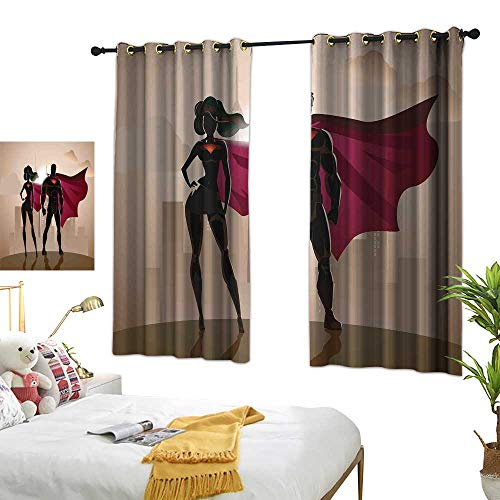 LsWOW Bedroom Curtains W63 x L45 Superhero,Super Woman and Man Heroes in City Solving Crime Hot Couple in Costume,Beige Brown Magenta Curtains 2 Panel Set for -