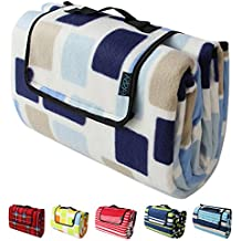 """FASISA Outdoor Blanket, Extra Thick Polyester Fleece, Outdoor Mat Tote,Ground Moisture Barrier,78 x 59 inches(15""""x10.5""""x4"""" when folded)"""