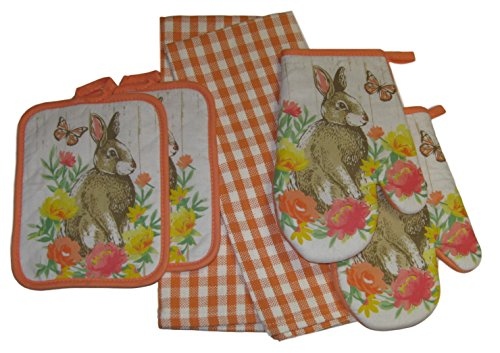 Easter Bunny Rabbit in the Flowers Potholders Oven Mitts and Gingham Plaid Dish Towels Set Bundle (6 (Flower Oven Mitt)