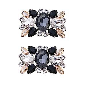 Casualfashion 2Pcs Fashion Womens Crystal Rhinestone Shoe Clips Decorations for Wedding Party Prom, rhinestone, Multicolor, approx 5.8 * 3.7cm / 2.28 * 1.45inch