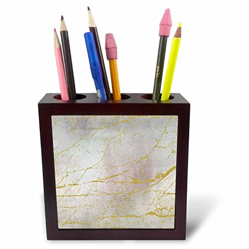 3dRose Andrea Haase Glamour and Glitter - Image of Glamorous Elegant Soft Pastel Texture With Golden Marble Lines - 5 inch tile pen holder ()