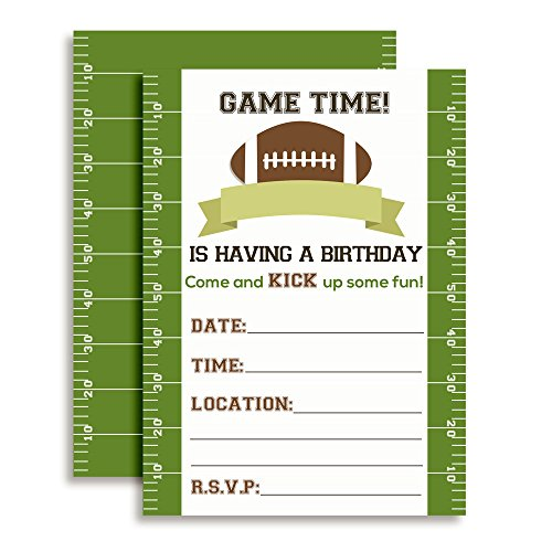 Game Time Football Birthday Party Invitations, 20 5