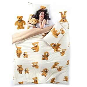 sisbay cute teddy bear cartoon bedding. Black Bedroom Furniture Sets. Home Design Ideas
