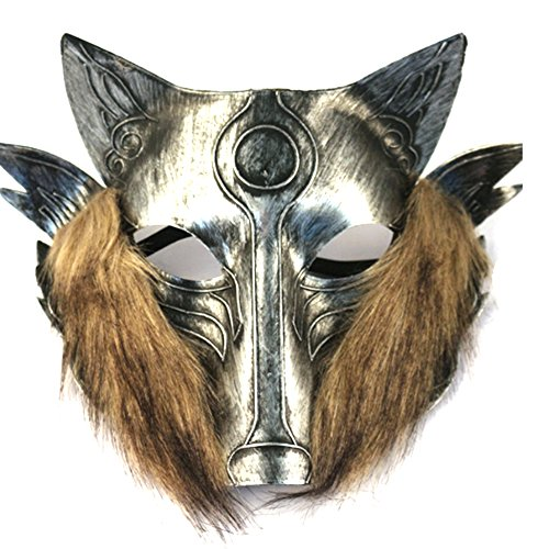 Masquerade Wolf Mask (Partyfareast Cosplay Wolf Mask Full Face Masquerade Mask Pack of 2(silver))