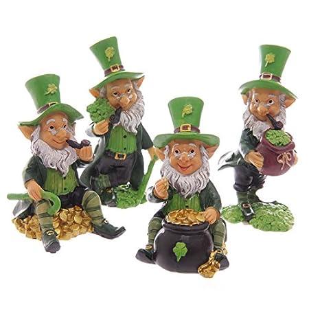 Set Of Four Lucky Irish Leprechaun Figures 9   11cm Home / Garden Statue  Ornament
