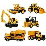 6 Set Inertia Toy Construction Engineering Truck Models Friction Powered Dumper,Bulldozers,Forklift,Tank Truck,Asphalt Car and Excavator for Children Kids Boys and Girls