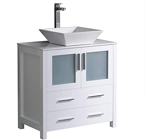 Fresca Torino 30 White Modern Bathroom Cabinet with Top and Vessel Sink