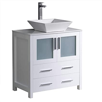 . Fresca Torino 30  White Modern Bathroom Cabinet with Top and Vessel Sink