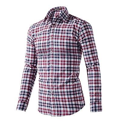 QIHUANG Mens Casual Slim Fit Long Sleeve Pocket Plaid Dress Shirt