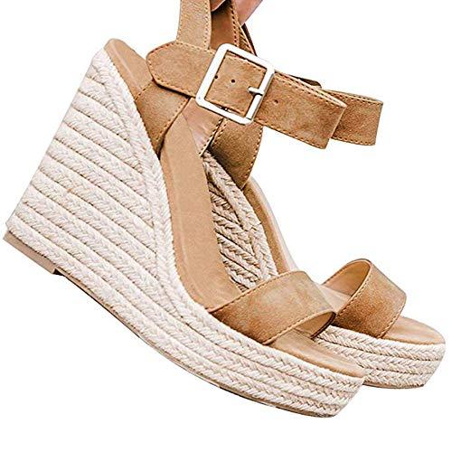 Ru Sweet Women's Wedge Sandals Casual Sandals Shoes Summer Ankle Buckle Open Toe Wedges Heels Khaki