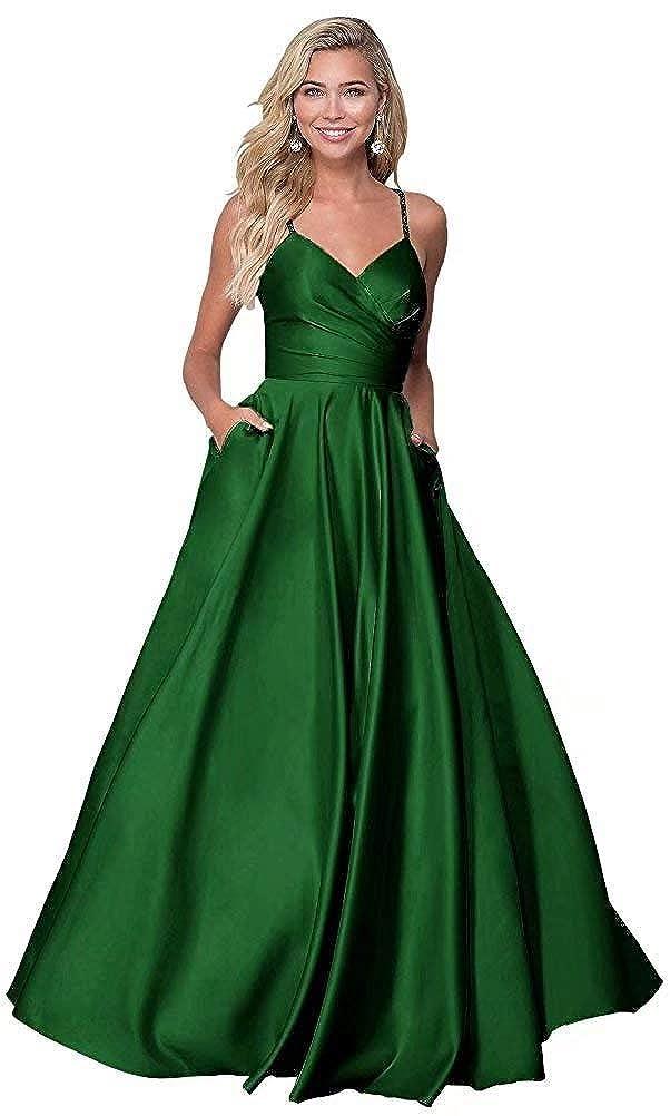 Emerald Green JYDX Women's V Neck Beaed Spaghetti Strap Satin Prom Dress Long Party Evening Gown