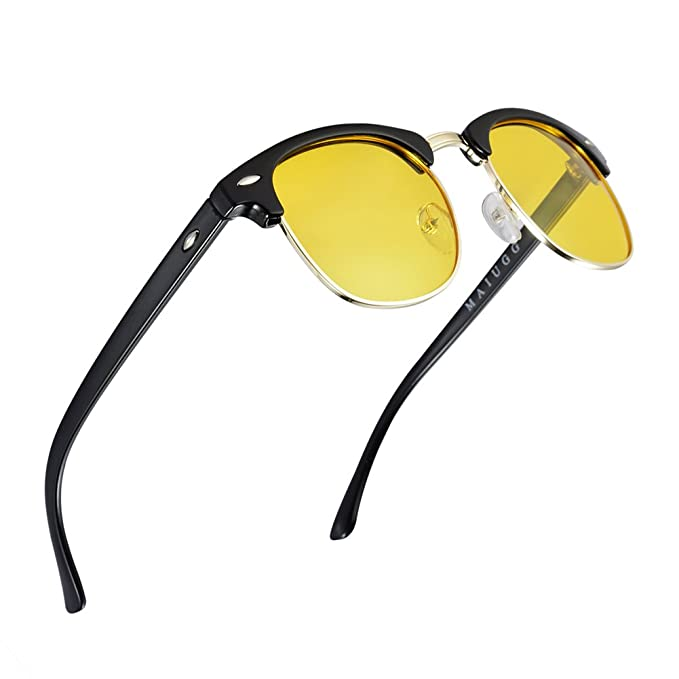 f4eda5da64 Image Unavailable. Image not available for. Color  Night Driving Glasses  Anti Glare Polarized Sunglasses HD Yellow Lens for Night Safety Glasses
