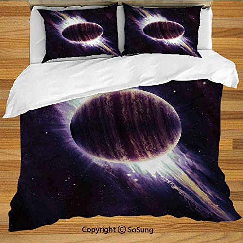 Galaxy Queen Size Bedding Duvet Cover Set,Trippy Planet in Cosmos Mystic Spiral in Celestial Vast Fantasy Backdrop Space Art Print Decorative 3 Piece Bedding Set with 2 Pillow -