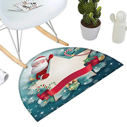 "Christmas Semicircular Cushion Santa Claus Star Banner Snowflakes Ribbon and Candy Cane Tree Winter Season Theme Entry Door Mat H 35.4"" xD 53.1"" Red White"