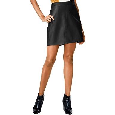 94ad46f842 Bar III Womens Faux Leather Seamed Mini Skirt at Amazon Women's ...