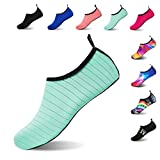 HMIYA Water Shoes Barefoot Quick-Dry Slip On Aqua Yoga Beach Surf Swim Socks for Men Women Stripe/Green 6.5/7.5 UK
