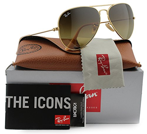 Ray-Ban RB3025 Small Aviator Sunglasses Matte Gold w/Brown Gradient (112/85) 3025 55mm - Ray 55mm 3025 Gold Gradient Ban Brown